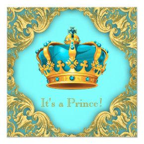 Teal Blue and Gold Prince Baby Shower Card