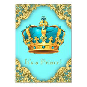 Teal Blue and Gold Prince Baby Shower Invitations