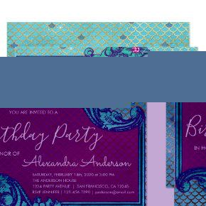 Teal Blue and Purple Mermaid Scales Birthday Party Invitation