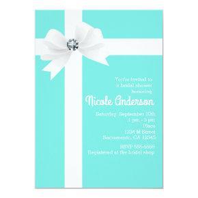 Teal Blue Bridal Shower White Bow & Diamond Invitation