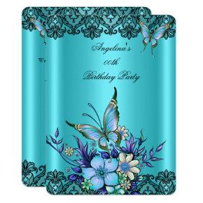Teal Blue Butterfly Floral Black Lace Birthday Card