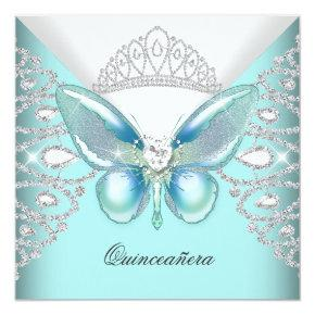 Teal Blue Butterfly Tiara Quinceanera 15th Party Invitation