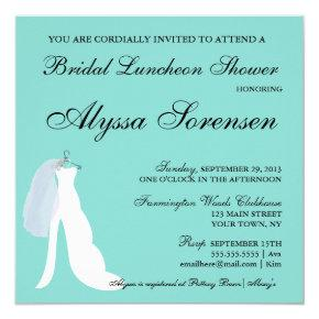 Teal Blue Here Comes The Bride Party Invitation