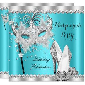 Teal Blue Masquerade Mask Hi Heels Birthday Party Card