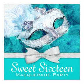 Teal Blue Masquerade Party Invitation