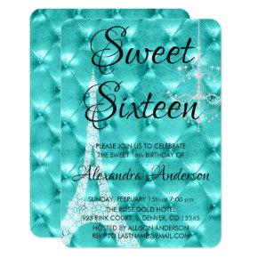 Teal Blue Paris Sweet Sixteen Birthday Party Invitations