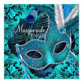 Teal Blue Peacock Mask Masquerade Party Invitation