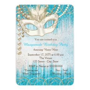 Teal Blue Pearl Watercolor Masquerade Party Invitations