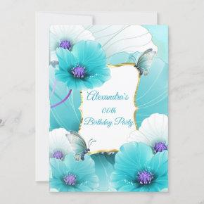 Teal Blue Poppies Flower Birthday Party invite