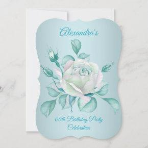 Teal Blue Roses Birthday Party invite