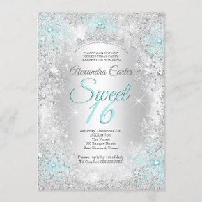 Teal blue Snowflake Sweet 16 Birthday Party Invitation
