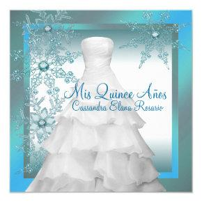 Teal Blue Snowflakes Winter Wonderland Quinceanera Invitations