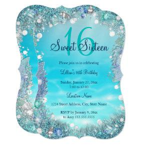 Teal Blue Water Ocean Pearls Sweet 16 Party Invitations