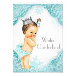 Teal Blue Winter Onederland 1st Birthday Party Invitations