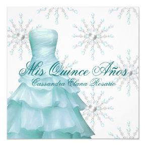 Teal Blue Winter Wonderland Quinceanera Invitation