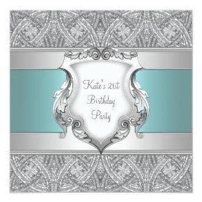 Teal Blue Womans 21st Birthday Party Invitations
