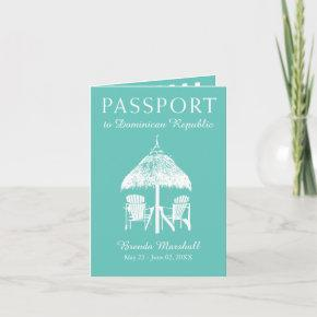 Teal Dominican Republic Birthday Passport Invitations
