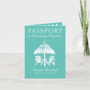 Teal Dominican Republic Birthday Passport Invitation