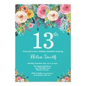 Teal Floral 13th Birthday Invitation