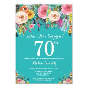 Teal Floral Surprise 70th Birthday Invitation