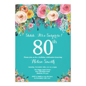 Teal Floral Surprise 80th Birthday Invitation