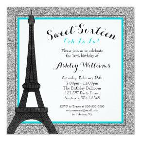 Teal Glam Paris Themed Faux Glitter Sweet 16 Invitations