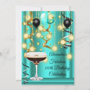 Teal Gold Espresso Martini Cocktail Party Invite