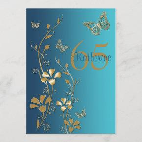Teal, Gold Flowers & Butterflies 65th Invitation