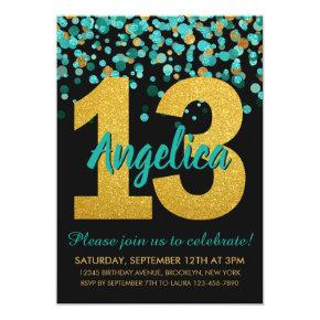 Teal Gold Glitter Confetti Black 13th Birthday Invitation