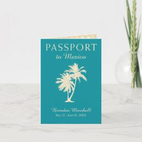 Teal Gold Mexico 21ST Birthday Passport Invitation