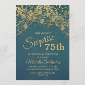 Teal Gold String Lights Surprise 75th Birthday Invitation