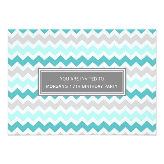 teal grey chevron 17th birthday party invitations candied clouds