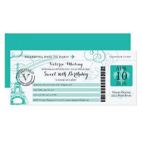 Teal Happy Birthday Boarding Pass to Paris France Invitation