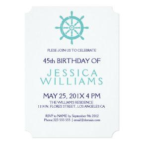 Teal Nautical Boat Wheel Birthday Party Invite