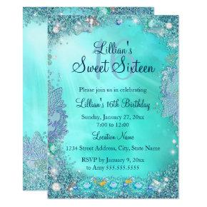 Teal Ocean Jewel Sweet 16 Birthday Party 2 Invitation
