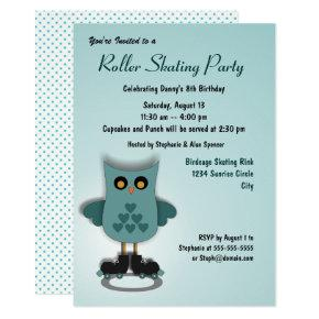 Teal Owl Skating Party Invitations