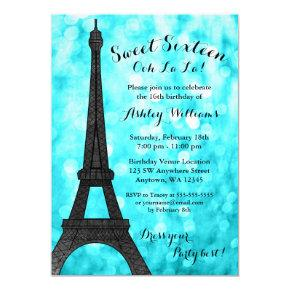 Teal Paris Bokeh Glitter Lights Sweet 16 Invitations