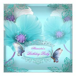 Teal Purple Butterfly Birthday Party Women Girls 2 Invitation