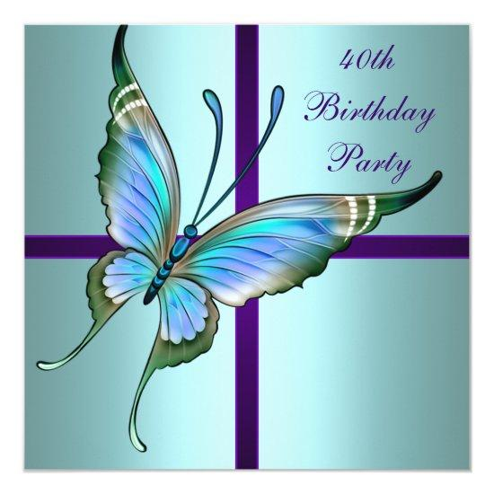 Teal Purple Butterfly Elegant 40th Birthday Party