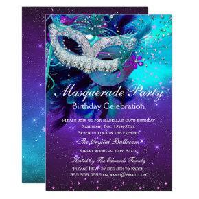 Teal Purple Feather Mask Masquerade Birthday Invitation