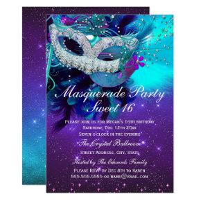 Teal Purple Feather Mask Masquerade Invitation