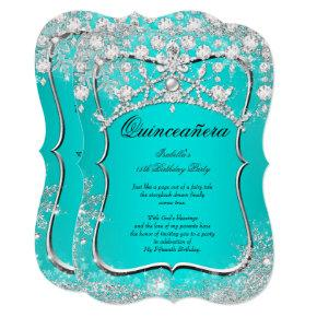 Teal Quinceanera 15th Winter Wonderland Silver Invitation