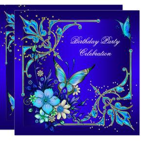 Teal Royal Blue Butterfly Birthday Party Invitation