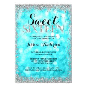 Teal Silver Faux Glitter Lights Sweet 16 Birthday Invitations