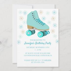 Teal Skate Graphic Roller Skating Themed Party Invitation