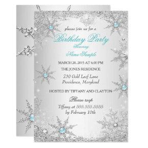 Teal Winter Wonderland Birthday Party Invitation