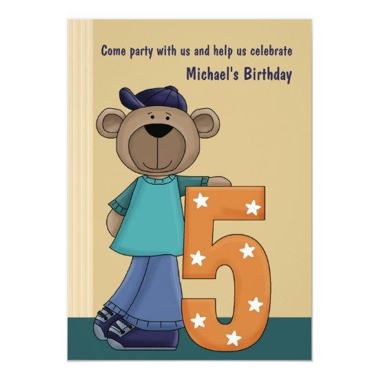 Teddy Bear Hip 5 Year Old Birthday Party Invitat Card Candied Clouds