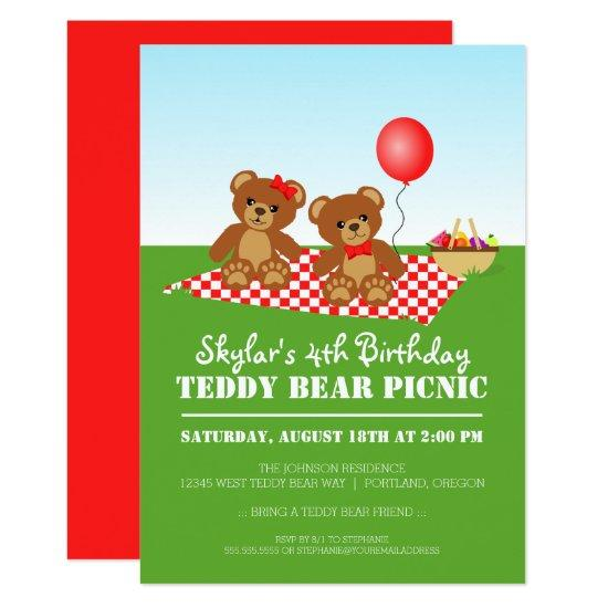 teddy bear picnic birthday party invitations candied clouds