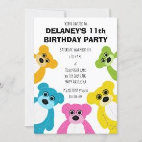 Teddy Bears in Rainbow Colors Cute Kids Party Invitation