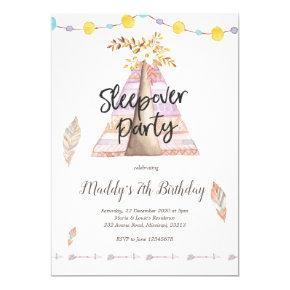 Tee Pee Sleepover Girl Birthday Party Invitation